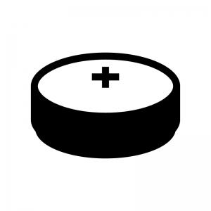 ボタン電池の白黒シルエットイラスト