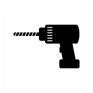 電動ドリルの白黒シルエットイラスト02