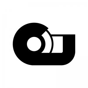 セロハンテープの白黒シルエットイラスト02