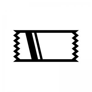 テープの白黒シルエットイラスト