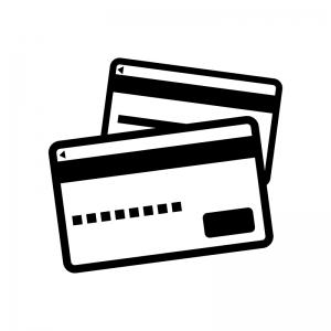 カード類の白黒シルエットイラスト