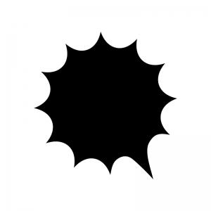 爆発吹き出しの白黒シルエットイラスト03