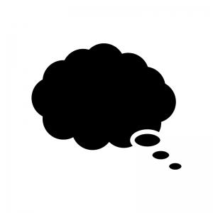 思考吹き出しの白黒シルエットイラスト03