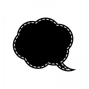 点線吹き出しの白黒シルエットイラスト