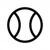 野球のボールの白黒シルエットイラスト