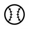 ベースボールの白黒シルエットイラスト