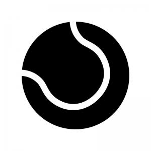 テニスボールの白黒シルエットイラスト02