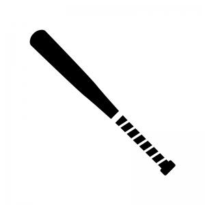 金属バットの白黒シルエットイラスト