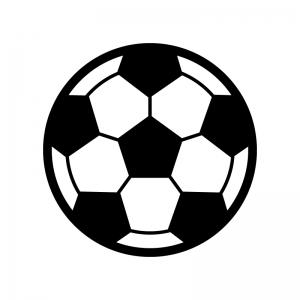 サッカーボールの白黒シルエットイラスト
