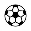 サッカーボールの白黒シルエットイラスト02
