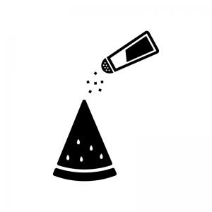 スイカに塩をかけている白黒シルエットイラスト