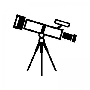 天体望遠鏡の白黒シルエットイラスト02