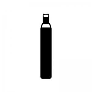 彫刻刀(丸刀)の白黒シルエットイラスト