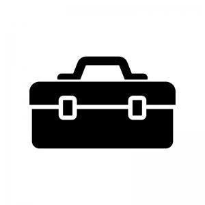 工具箱の白黒シルエットイラスト