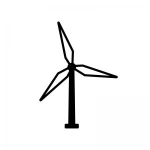 風力発電の白黒シルエットイラスト