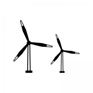 風力発電の風車の白黒シルエットイラスト