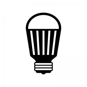 LED電球の白黒シルエットイラスト