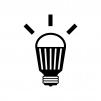 光っているLED電球の白黒シルエットイラスト