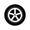 タイヤとホイールの白黒シルエットイラスト