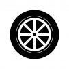タイヤとホイールの白黒シルエットイラスト02