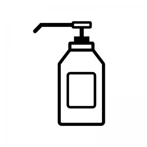 アルコール消毒液の白黒シルエットイラスト