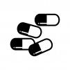 カプセルの錠剤の白黒シルエットイラスト