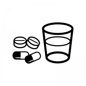 薬とコップのシルエット 無料のaipng白黒シルエットイラスト