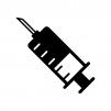 液体の入った注射器の白黒シルエットイラスト