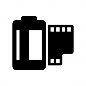 カメラフィルムの白黒シルエットイラスト