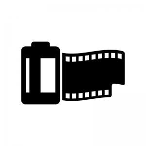 カメラフィルムの白黒シルエットイラスト02