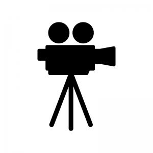 動画マークの白黒シルエットイラスト