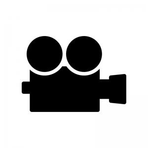 映写機の白黒シルエットイラスト