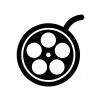 映画フィルムの白黒シルエットイラスト