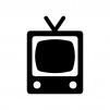 レトロテレビの白黒シルエットイラスト