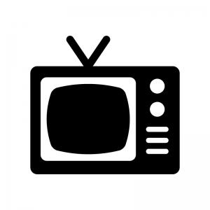 古いテレビの白黒シルエットイラスト