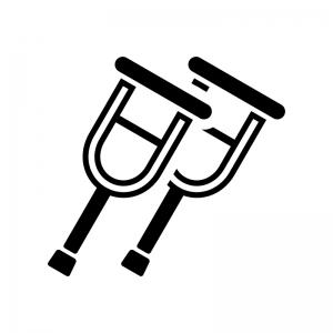 松葉杖の白黒シルエットイラスト02