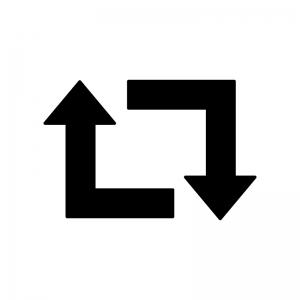 循環矢印の白黒シルエットイラスト