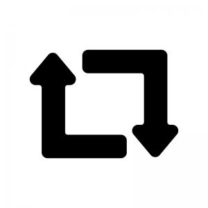 循環矢印(角丸)の白黒シルエットイラスト
