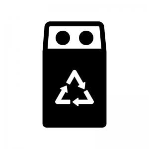 空き缶のゴミ箱の白黒シルエットイラスト
