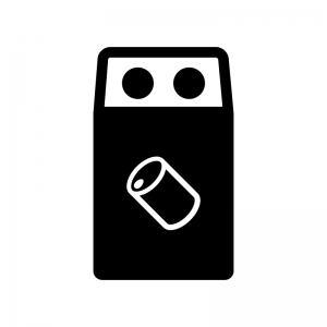 空き缶のゴミ箱の白黒シルエットイラスト02