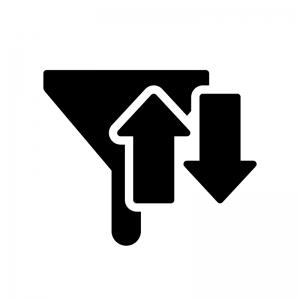 フィルターと矢印の白黒シルエットイラスト