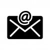 アットマークとメールの白黒シルエットイラスト