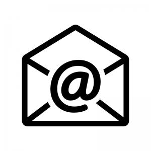 アットマークと開封メールの白黒シルエットイラスト