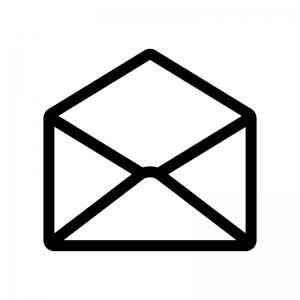 開封メールの白黒シルエットイラスト