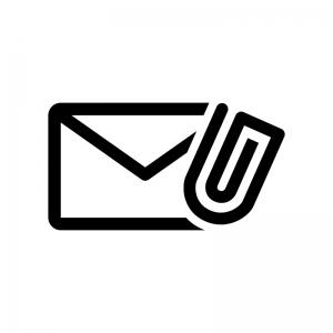 添付メールの白黒シルエットイラスト