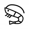 海老の白黒シルエットイラスト02