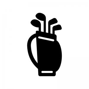 ゴルフバッグの白黒シルエットイラスト