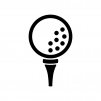 ゴルフボールの白黒シルエットイラスト02