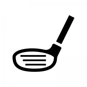 ゴルフ・ウッド(ドライバー)の白黒シルエットイラスト