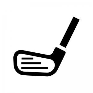 ゴルフ・アイアンの白黒シルエットイラスト